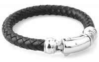 Круглый кожаный браслет  сталь  KB-147