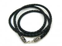 Чокер, шнур, гайтан на шею  плетеная кожа серебро декоративные вставки толщина 4,5-5 мм Вид 11