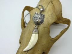 Кулон, амулет, оберег клык, коготь волка (натуральный) серебро модель 6