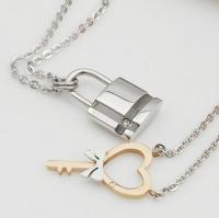 Парные кулон ключ замок сталь