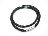 Чокер, шнур, гайтан кожаный плетеный 6 мм серебро вид 8