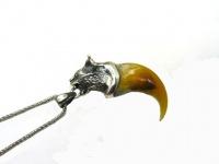 Кулон-амулет коготь рыси серебро 925