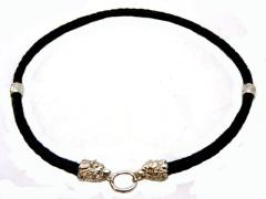 Чокер, шнур плетеный кожаный 6 мм с головой Волка и Медведя и бусинами коловрат серебро