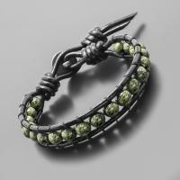 Кожаный браслет Чан Лу из бусин змеевика Rico La Cara 4159