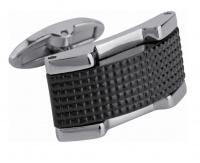 Мужские запонки Запонки выполнены из стали и черной керамики.