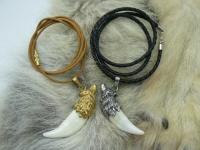 Кулон-амулет-оберег клык волка настоящий золото 24 карат 3 мкрн серебро Вид 1
