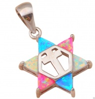 Кулон звезда Давида разноцветный опал