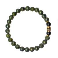 Браслет резинка HOGER 6166 с черепом и камнями темно зеленый змеевик Rico la Cara