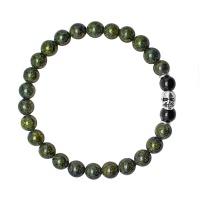 Браслет резинка HOGER 6167 с черепом и камнями темно зеленый змеевик Rico la Cara