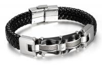 Кожаный браслет сталь черный KB-127