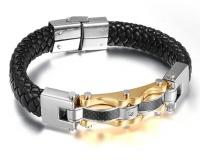 Кожаный браслет сталь черный KB-129