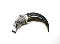 Кулон-амулет коготь медведя натур серебрение длиной 7-8 см