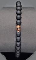 Браслет на резинке шунгит череп  Rico La Cara 6125