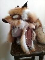 Шапка-ушанка с очками, мордочкой, хвостом лиса-огневка