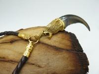 Кулон-амулет коготь медведя натур серебро золото длиной 6 см с глазами