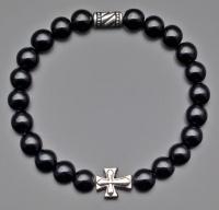 Браслет на резинке черный агат с крестом  Rico La Cara 6152