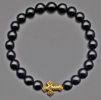 Браслет на резинке черный агат с крестом  Rico La Cara 6151