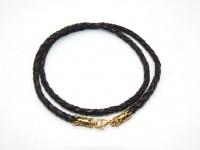 Чокер, шнур, гайтан кожаный плетеный 4 мм серебро позолота в.2