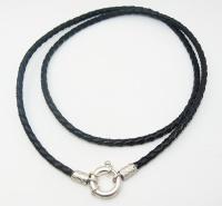 Чокер, шнур, гайтан на шею из плетеной кожи с замком штурвал серебро 925