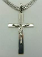 Крест Иисус Хрестос серебро длиной 5 см