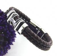 Мужской браслет из стали Hermes плетеная кожа KB-153