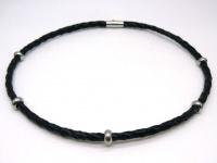 Чокер кожанный плетеный 6 мм с кольцами сталь
